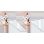 Boucles d'oreilles jonc - or blanc et or rose 18 carats