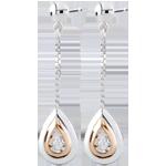 bijouterie Boucles d'oreilles Larmes d'antilope - pendantes or blanc et or rose 9 carats