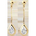 cadeau femme Boucles d'oreilles Larmes d'antilope - pendantes or jaune et or blanc