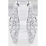 Boucles d'oreilles mini créoles - Larmes pavées - or blanc 9 carats et diamants