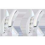 cadeaux femmes Boucles d'oreilles Nid Précieux - Citation - or blanc - 6 diamants - 18 carats