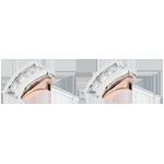 achat on line Boucles d'oreilles Nid Précieux - Trilogie diamant - 3 diamants - or blanc et or rose 18 carats