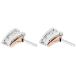 mariage Boucles d'oreilles Nid Précieux - Trilogie diamant - or rose, or blanc - 3 diamants - 18 carats
