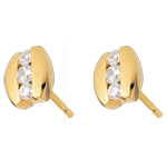 Boucles d'oreilles Nid Précieux - Trilogie parenthèse - or jaune 18 carats - 0.23 carat - 6 diamants