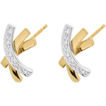 boucles d'oreilles noeud étoile - or blanc et or jaune 18 carats