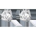 cadeaux femme Boucles d'oreilles or blanc 18 carats - diamant 6 griffes - 2 carats