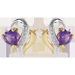 Boucles d'oreilles Ouaki - améthyste - or blanc et or jaune 9 carats