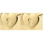 Boucles d'oreilles Précieux Secret - Coeur - or jaune 9 carats