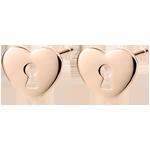 Boucles d'oreilles Précieux Secret - Coeur - or rose 9 carats