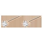 Boucles d'oreilles puces or rose 18 carats et diamant