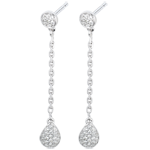 Boucles d'oreilles Rhéa or blanc 18 carats et diamants