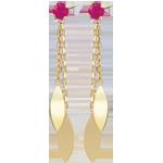 Boucles d'oreilles Sakari - rubis - or jaune 9 carats