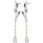 Boucles d'oreilles Souffle léger - deux ors - or blanc et or jaune 9 carats