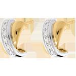 femme Boucles d'oreilles tandem paves or jaune et or blanc - 12 diamants