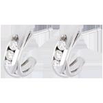 boucles d'oreilles trilogie bipolaire - or blanc 18 carats - 0.3 carats - 6 diamants