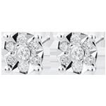 Boucles d'oreilles Venise - puces - 20 diamants - or blanc 9 carats