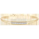 Bracciale Fior di Sale - due anelli - Oro giallo e Oro bianco - 9 carati - Diamanti