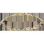 Bracciale Piume di ganga - Oro bianco e Oro giallo - 18 carati - 12 Diamanti
