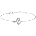 acheter on line Bracelet Balade Imaginaire - Serpent Envoutant - or blanc 9 carats et diamants