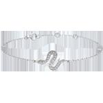 cadeau Bracelet Balade Imaginaire - Serpent Envoutant - or blanc et diamants