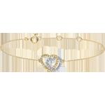 cadeau Bracelet Coeurs Complices - or blanc et or jaune 9 carats et diamants