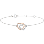 Bracelet Coeurs Complices - or blanc et or rose 9 carats et diamants
