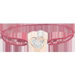 Bracelet Coeurs Enlacés diamants - cordon rouge - or blanc et or rose 9 carats