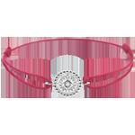 mariages Bracelet Fleur de Sel - cercle - or blanc 9 carats - cordon rouge