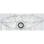 bijoux or Bracelet Fleur de Sel - cercle - or blanc 9 carats et diamants noirs