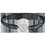 ventes en ligne Bracelet Fleur de Sel - cercle - or blanc - cordon noir