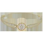 ventes Bracelet Fleur de Sel - cercle - or jaune - cordon beige