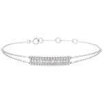 joaillerie Bracelet Fleur de Sel - deux anneaux - or blanc - 18 carats
