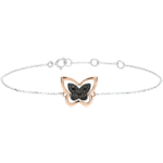 gifts woman Bracelet Imaginary Walk - Lunar Butterfly - rose gold and black diamonds - 9 carat