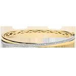 vente Bracelet Jonc Saturne Duo - diamants - or blanc et or jaune 9 carats