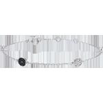 Bracelet or blanc 9 carats Myriade d'étoiles - diamants blancs et diamants noirs