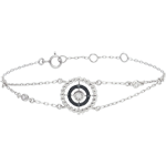 gifts women Bracelet Salty Flower - circle - white gold and black diamonds