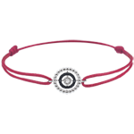 gold jewelry Bracelet Salty Flower - circle - white gold and diamonds - red cord