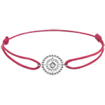 Bracelet Salty Flower - circle - white gold - red cord