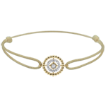 gift women Bracelet Salty Flower - circle - yellow gold - beige cord
