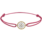 gifts women Bracelet Salty Flower - circle - yellow gold - red cord
