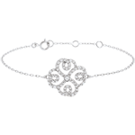 wedding Bracelet Solitair Freshness - Clover Arabesque - white gold and diamonds