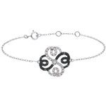 women Bracelet Solitair Freshness - Clover Arabesque - white gold white diamonds and black diamonds