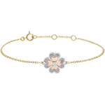 buy on line Bracelet Solitair Freshness - Sparkling Clover - three golds and diamonds