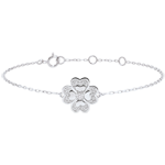 women Bracelet Solitair Freshness - Sparkling Clover - white gold and diamonds