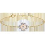 Bracelet Solitaire Fraicheur - Trèfle Étincelant - 3 ors et diamants - trois ors 9 carats