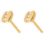 Bracket trilogy earrings yellow gold - 6 diamonds