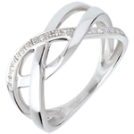 women Braided ring white gold paved