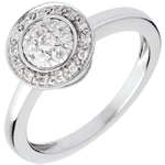 gift woman Button ring white gold paved