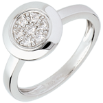 women Button ring white gold