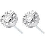gift women Button Stud Earrings white gold - 0.25 carat